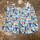 NEW Mens 83990 Tenue De Plage Blue Printed Stamp Swim Shorts GENUINE RRP £105