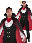 Mens Gothic Vampire Costume + Cape Halloween Fancy Dress Adults Cool Dracula