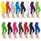 Cotton Leggings 3/4 Length Cropped Leggings - All Colours and Sizes  UK 6 - 22