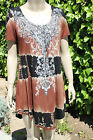 Vocal Brown, Short Sleeve Shirt or Tunic w/Black Tie Dye Details, PLUS SIZE, NEW