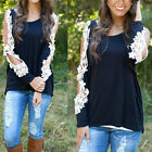 Women Summer Long Sleeve Cotton Lace Blouse Loose Casual T-Shirt Tops