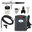 OPHIR 0.35mm  Airbrush Kit with Black Air Compressor for Hobby Cake Decoration