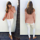 Women Off Shoulder Hollow Lace Long Sleeve T-Shirt Casual Blouse Tops Shirt b6
