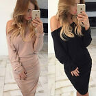 Womens Off-shoulder Draped Long Sleeve Bodycon Evening Party Cocktail Mini Dress