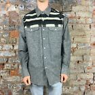 Crooks & Castles Mayan Woven Long Sleeve Check Shirt Navy Grey size S,L