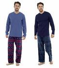 Mens Loungewear Check Brushed Cotton Fleece  Pyjama Set Winter Warm Jersey Pjs