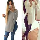 2016 New Women Casual Long Sleeve Side Split  Knitwear Pullover  Sweater Tops