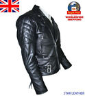 Uk Stock Men's Brando Vintage Motorcycle Classic Biker Black Real Leather Jacket, used for sale  United Kingdom