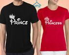 Couple Tshirt PRINCE PRINCESS FASHION Matching Couple Tshirt Disney BLACK-RED