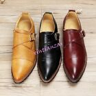 Mens Buckle Slip On Pointed Toe Shoes Leather Leisure Dress Boot Wedding Chic
