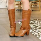 Womens Block Kitten Heels Mid Calf Pull On Boots Leather Shoes Sweet Vintage New