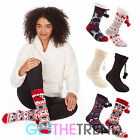 Womens Socks Long Novelty Slipper Ladies Gripper Winter Lounge Sherpa FootWear
