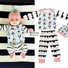 Newborn Infant Baby Girl Boy Clothes Feather Tops T-shirts Pants Hat TXSU