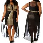 8514-14 - Plus Size Black Mesh Chiffon Hi Low Cocktail Metallic Gold Dress 2X 3X