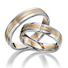 Real 18K White and Yellow Multi Gold 3 Stone Wedding Ring
