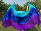 New 3yd45 5mm Turquoise royal blue purple belly dance silk veil