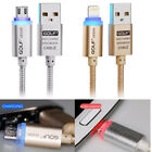 2.1A Micro USB LED Data Charger Charging Cable Adapter for iPhone Samsung Stock