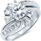 Sterling Silver Shiny Clear CZ Promise Engagement Love 2 in 1 Set Ring Size 3-11