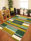 Kingston Lime Apple Green Brown Soft Thick Quality Handmade Small Large Wool Rug