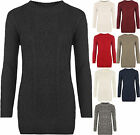 Womens Cable Knitted Long Sleeve Stretch Round Neck Top Sweater Ladies Jumper