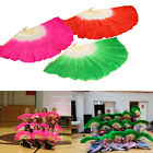 Chinese Colorful Silk Bamboo Short Belly Dance Dancing Fans Veils Hand Made Art