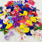 10-100pcs Wholesale Multicolor Mix Check Flowers Pet Dog Hair Bow Rubber Bands