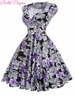 Women Retro Polka Dot /Floral Swing 40s 1950s Pinup Vintage Cocktail Prom Dress