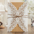 White Rustic Laser Cut Wedding Invitations Cards Printable, Envelopes, Stickers