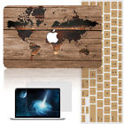 World Map Wood Painted Shell Cover Hard Case for MAC Macbook Air11 12 Pro 13 15