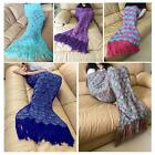 1X Handmade Crochet Mermaid Tail Blankets Soft Sleeping Bag 8 Colors 3 Sizes