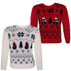 Boys Snowflake Snowman Print Christmas Xmas Knitted Jumper Boys Girls Size