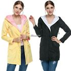 Women Long Sleeve Hooded Trench Coat Drawstring Waist Outwear Jacket New BF9