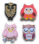 Blue Pink Owl Iron / Sew On Embroidered Patch Applique Motif *buy1get1halfprice*