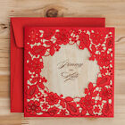 Red customized Laser Cut Wedding Invitations 3-Fold, Blank, Envelope, Stickers