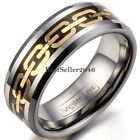 8mm Mens Tungsten Carbide Black Gold Two Tone Engagement Wedding Band Ring Gift