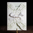 White Wedding Invitations Hollow Lace Free Personlize Laser Cut Kit With Ribbon