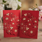 Red Lace Laser Wedding Invitation Card, Envelopes, Seals, Personlized Printing