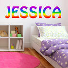 Rainbow Colours Personalised Custom Name Wall Sticker Decal Kids Girls Bedroom