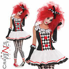Ladies Clown Harlequin Costume Honey Jester Halloween Adult Fancy Dress Outfit