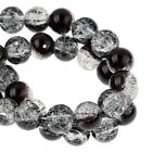 Black Clear Wholesale 8mm Round Crackle Glass Beads G1200 - 50 ,100 Or 200PCs
