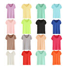 STO Womens Modal Short Sleeved Cotton Candy Color Basic Tee T-shirt V Neck