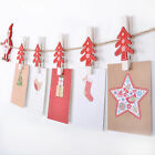 Novelty Christmas Card Holder Garland With Christmas Tree Shaped Wooden Pegs
