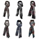 Mens Soft Checked Scarf Lightweight Long Warm Fringe Wrap Fashion Accessory Gift