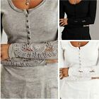 Fashion Women Long Sleeve Shirt Casual Lace Blouse Loose Cotton Top T-Shirt E9