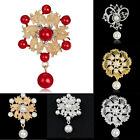 Women Vintage Rhinestone Crystal Pearl Wedding Bridal Bouquet Brooch Pin