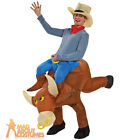 Adult Infatable Bull Rider Costume Rodeo Funny Stag Fancy Dress Outfit New
