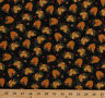 Bear Paws Beehives Bee Skeps Flowers Black Cotton Fabric Print by Yard D779.48