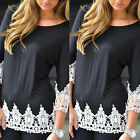 New Fashion Womens Ladies Loose Cotton Tops 3/4 Sleeve T-Shirt Casual Blouses