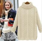 Women Turtleneck Loose Long Sleeve Winter Oversize Sweater Jumper Shirt Tops