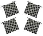 Set of 4 - In / Outdoor Black White Hockley Foam Chair Cushions - Choose Size
